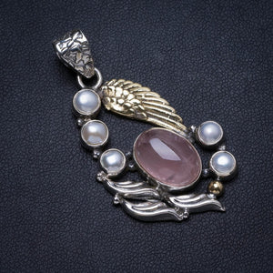 "Natural Rose Quartz and River Pearl Handmade Unique 925 Sterling Silver Pendant 2"" X0475"
