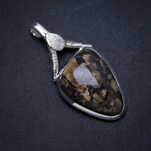 "Natural Turritella Agate Handmade Unique 925 Sterling Silver Pendant 2"" X0480"