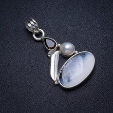 "Natural Dendritic Opal,River Pearl Smoky Quartz Handmade Unique 925 Sterling Silver Pendant 1.5"" X0484"