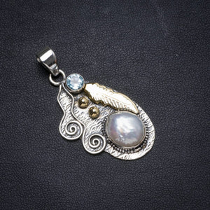 "Natural Two Tones Biwa Pearl andBlue Topaz Handmade Unique 925 Sterling Silver Pendant 1.75"" X0533"