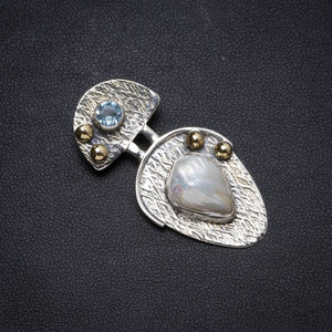"Natural Two Tones Biwa Pearl andBlue Topaz Handmade Unique 925 Sterling Silver Pendant 1.75"" X0547"