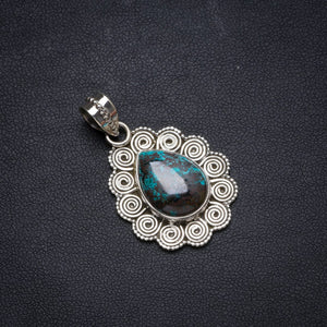 "Natural Iron Chrysocolla Handmade Unique 925 Sterling Silver Pendant 1.5"" X0551"