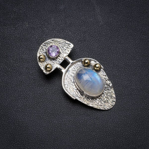 "Natural Two Tones Rainbow Moonstone andAmethyst Handmade Unique 925 Sterling Silver Pendant 1.75"" X0672"