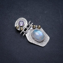 "Natural Two Tones Rainbow Moonstone andAmethyst Handmade Unique 925 Sterling Silver Pendant 1.5"" X0718"