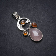 "Natural Rose Quartz andCarnelian Handmade Unique 925 Sterling Silver Pendant 1.75"" X0942"