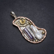 "Natural Two Tones Biwa Pearl andAmethyst Handmade Unique 925 Sterling Silver Pendant 2.25"" X0949"