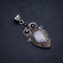 "Natural Chrysanthemum Jasper and Amethyst Handmade Unique 925 Sterling Silver Pendant 1.75"" X1013"