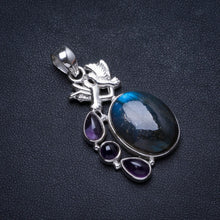 "Natural Blue Fire Labradorite and Amethyst Handmade Unique 925 Sterling Silver Pendant 1.75"" X1067"