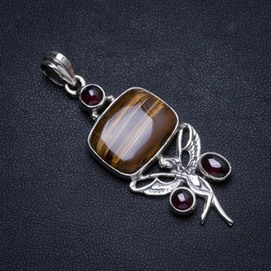 "Natural Iron Tiger Eye and Amethyst Handmade Unique 925 Sterling Silver Pendant 2"" X1097"