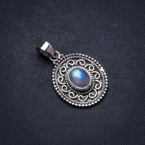 "Natural Rainbow Moonstone Handmade Unique 925 Sterling Silver Pendant 1.5"" X1287"