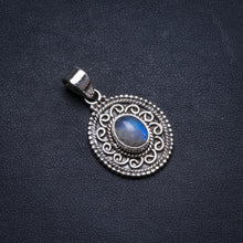 "Natural Rainbow Moonstone Handmade Unique 925 Sterling Silver Pendant 1.5"" X1371"
