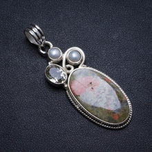 "Natural Green Unakite,Green Amethyst and River Pearl Handmade Unique 925 Sterling Silver Pendant 2"" X1499"