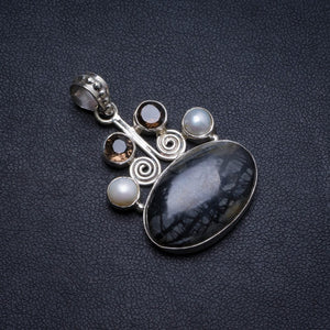 "Natural Picasso Jasper,River Pearl Smoky Quartz Handmade Unique 925 Sterling Silver Pendant 1.5"" X1530"