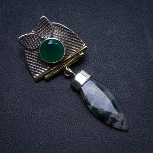 "Natural Moss Agate and Chrysoprase Handmade Unique 925 Sterling Silver Pendant 2"" X1606"