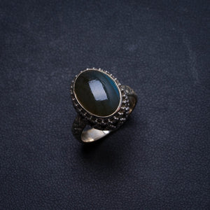 Natural Blue Fire Labradorite Handmade Unique 925 Sterling Silver Ring, US size 6.75 X1655