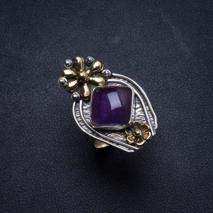 Natural Amethyst Handmade Unique 925 Sterling Silver Ring, US size 8 X1677