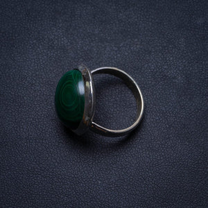 Natural Malachite Handmade Unique 925 Sterling Silver Ring, US size 5.5 X1727