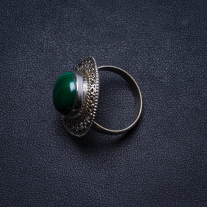 Natural Malachite Handmade Unique 925 Sterling Silver Ring, US size 7 X1779