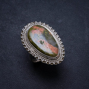 Natural Green Unakite Handmade Unique 925 Sterling Silver Ring, US size 5.75 X2026