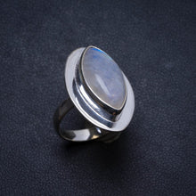 Natural Rainbow Moonstone Handmade Unique 925 Sterling Silver Ring, US size 7.5 X2035