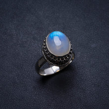Natural Rainbow Moonstone Handmade Unique 925 Sterling Silver Ring, US size 6.75 X2058