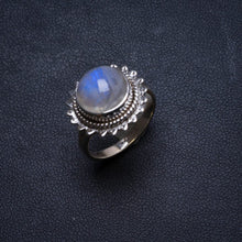 Natural Rainbow Moonstone Handmade Unique 925 Sterling Silver Ring, US size 7 X2081
