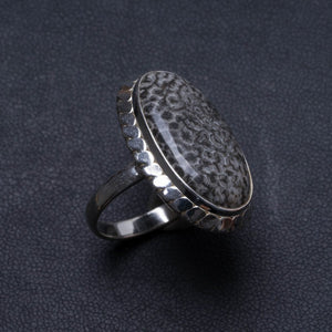 Natural Stingray Coral Handmade Unique 925 Sterling Silver Ring, US size 7.75 X2158