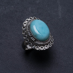 Natural Caribbean Larimar Handmade Unique 925 Sterling Silver Ring, US size 6.75 X2258