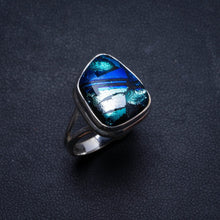 Natural Fancy Dichroic Glass Handmade Unique 925 Sterling Silver Ring, US size 7.5 X2325