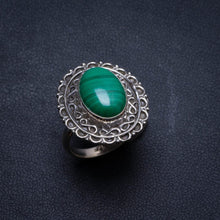 Natural Malachite Handmade Unique 925 Sterling Silver Ring, US size 6.25 X2366