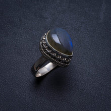 Natural Labradorite Antique Design Handmade Unique 925 Sterling Silver Ring, US size 7.25 X2478