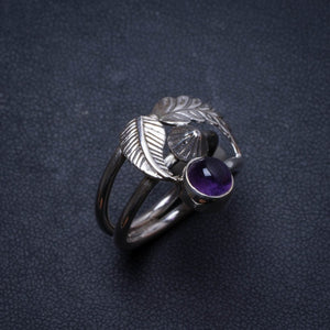Natural Amethyst Handmade Unique 925 Sterling Silver Ring, US size 8 X2599