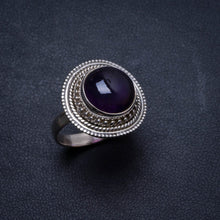 Natural Amethyst Handmade Unique 925 Sterling Silver Ring, US size 8 X2621