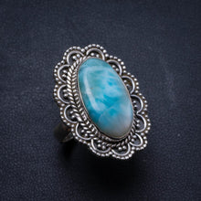 Natural Caribbean Larimar Handmade Unique 925 Sterling Silver Ring, US size 7.5 X2713