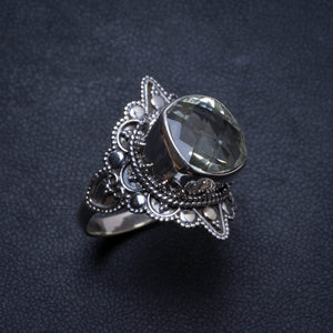 Natural Green Amethyst Handmade Unique 925 Sterling Silver Ring, US size 9.75 X2847