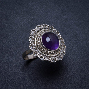 Natural Amethyst Handmade Unique 925 Sterling Silver Ring, US size 8.75 X2856