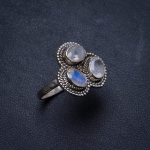 Natural Rainbow Moonstone Handmade Unique 925 Sterling Silver Ring, US size 7.75 X2920