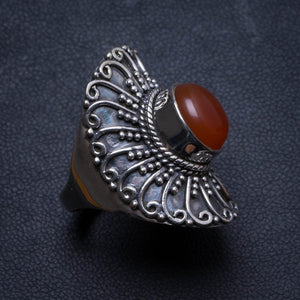 Natural Carnelian Handmade Unique 925 Sterling Silver Ring, US size 8 X3158