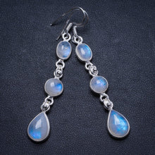 "Natural Rainbow Moonstone Handmade Unique 925 Sterling Silver Earrings 2.5"" X3201"