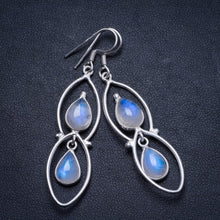 "Natural Rainbow Moonstone Handmade Unique 925 Sterling Silver Earrings 2.25"" X3254"