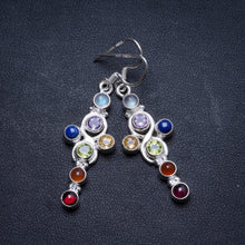 "Amethyst,Peridot,Citrine,Lapis Lazuli,Agate,Carnelian and Moonstone 925 Sterling Silver Earrings 2"" X3266"