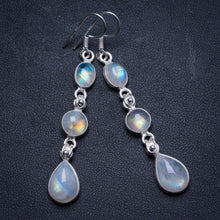 "Natural Rainbow Moonstone Handmade Unique 925 Sterling Silver Earrings 2.25"" X3270"
