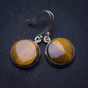 "Natural Tiger Eye Handmade Unique 925 Sterling Silver Earrings 1.5"" X3315"