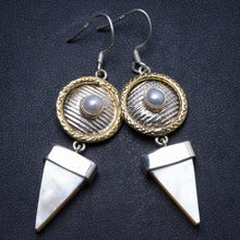 "Natural Mother Of Pearl and River Pearl Handmade Unique 925 Sterling Silver Earrings 2.25"" X3357"