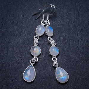 "Natural Rainbow Moonstone Handmade Unique 925 Sterling Silver Earrings 2.25"" X3366"