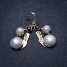 "Natural River Pearl and Amethyst Handmade Unique 925 Sterling Silver Earrings 1.75"" X3485"