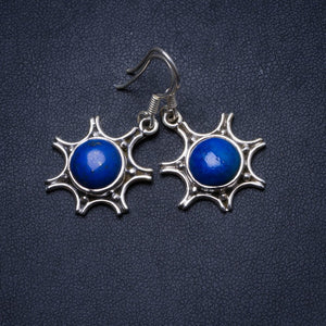 "Natural Lapis Lazuli Handmade Unique 925 Sterling Silver Earrings 1.25"" X3495"