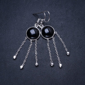 "Natural Black Onyx Handmade Unique 925 Sterling Silver Earrings 2"" X3512"
