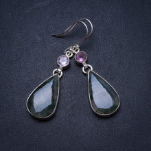 "Natural Moss Agate and Amethyst Handmade Unique 925 Sterling Silver Earrings 2"" X3513"