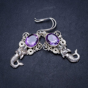 "Natural Amethyst Handmade Unique 925 Sterling Silver Earrings 2"" X3548"
